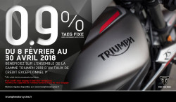 Offre de crédit TAEG 0,9% sur toute la gamme Triumph 2018